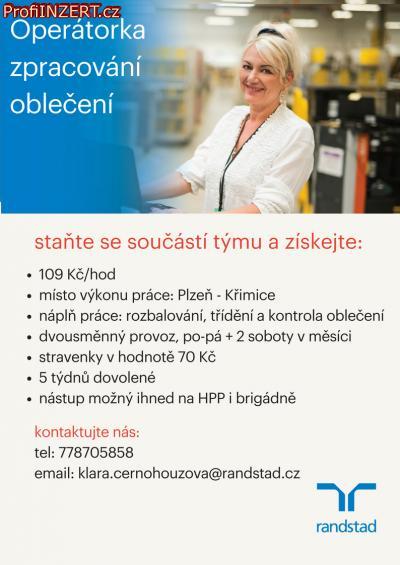 Obrázek k inzerátu: Operátorka zpracování oblečení - Plzeň